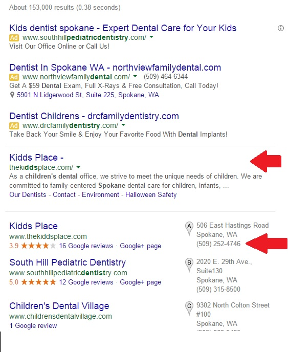 Kids denist spokane search engine results