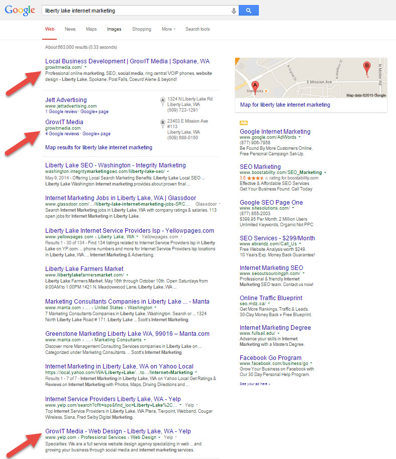 Liberty Lake Internet Marketing search results
