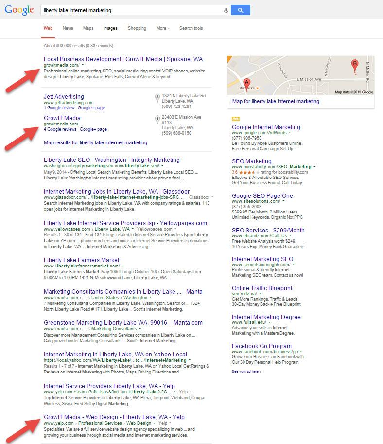 Liberty Lake Internet Marketing search results