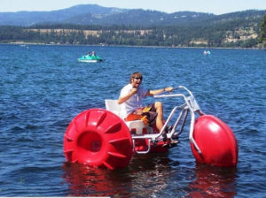 man on a water bike on cda lake