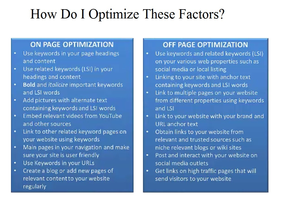 onpage and offpage optimization