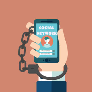 Smartphone Addiction, social network, handcuffs